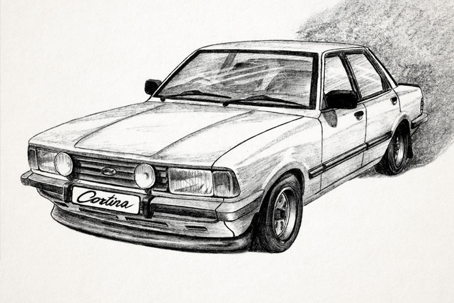 car illustration cortina mk 5