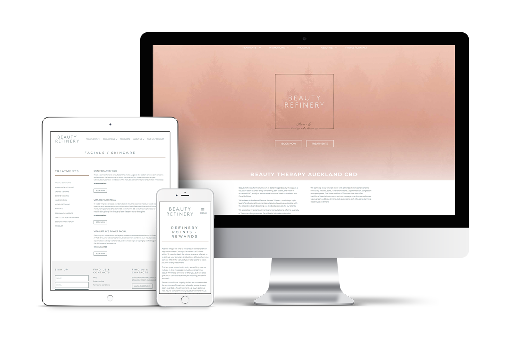 website design auckland - beauty refinery